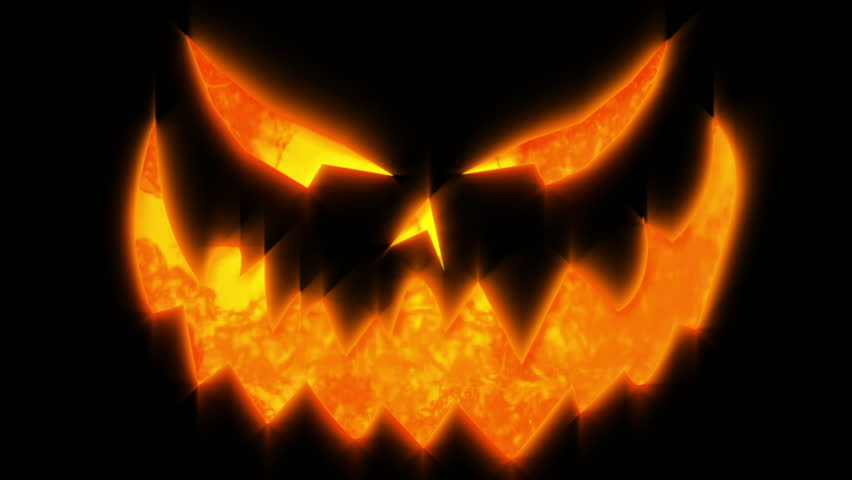 halloween jack o lantern pumpkin face animation stock