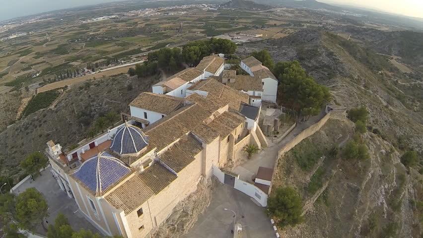 Aerial view of San Miguel de Lliria Monastery in Valencia, Spain