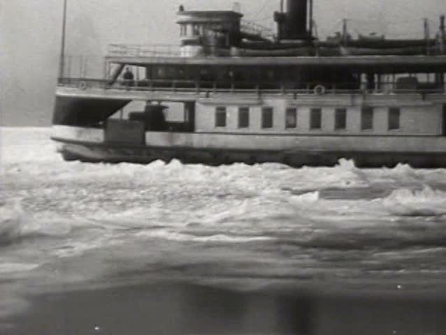 1910s - A frozen Niagara Falls in the dead of winter, 1919. - SD stock video clip