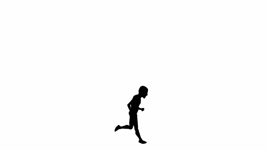 Animated silhouette of a running boy turning into a man on a white background - HD stock video clip