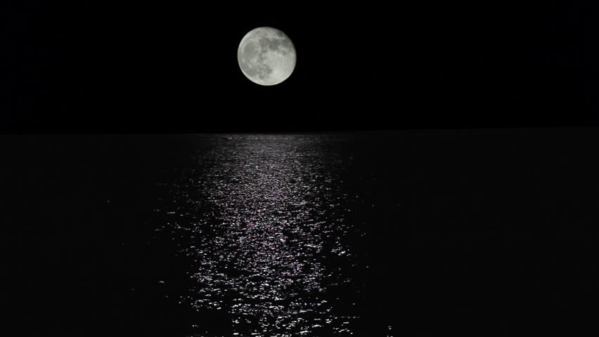 Moonlight path with low fool moon above the sea  #5000540