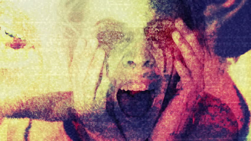 Horror Violence Creepy, mixed media horror composite of stop motion elements, TV static, CG, and video