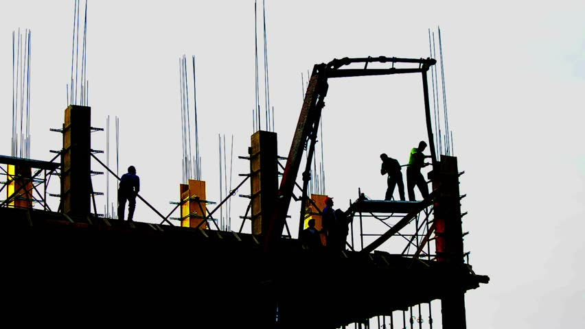 CONSTRUCTION WORKER SILHOUETTE Industry Site Building Development Scaffolding at