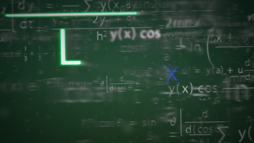 Animation of a chalkboard with colorful maths formulas with motion blur effect. symbol of mathematical education - HD stock footage clip