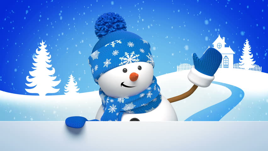 Christmas snowman salutation, animated greeting card, 3d cartoon character | Shutterstock HD Video #5053217