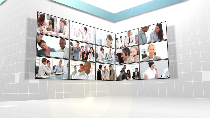 Several different clips of business people at work in front of squares
