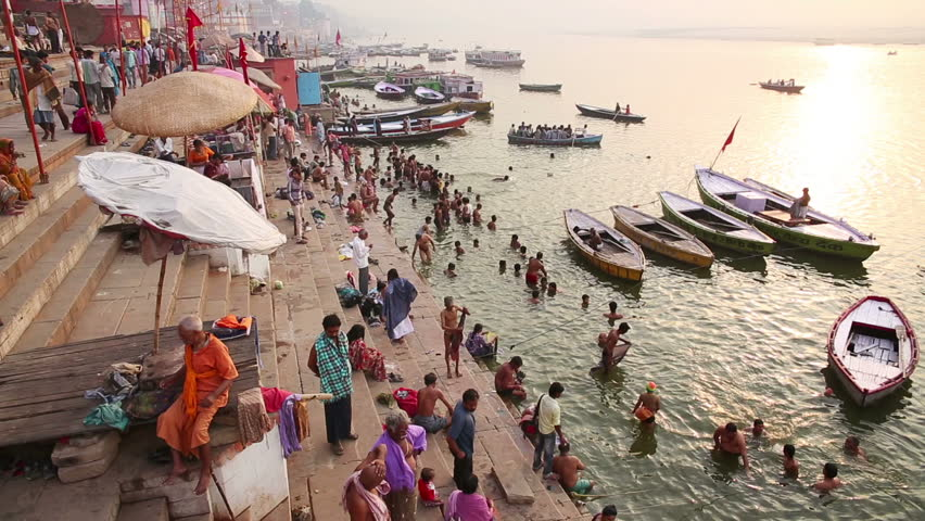 VARANASI, INDIA - MAY 2013: Everyday scene by Ganges River