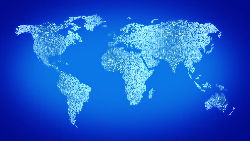 Numbers and symbols form the world map blue tint more symbols and color backgrounds available - World of color wallpaper ...