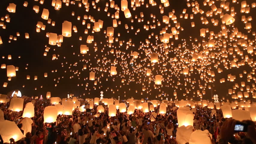 Floating lanterns in Yee Peng Festival, Loy Krathong celebration in Chiangmai, Thailand. Wide angle view. | Shutterstock HD Video #5092781