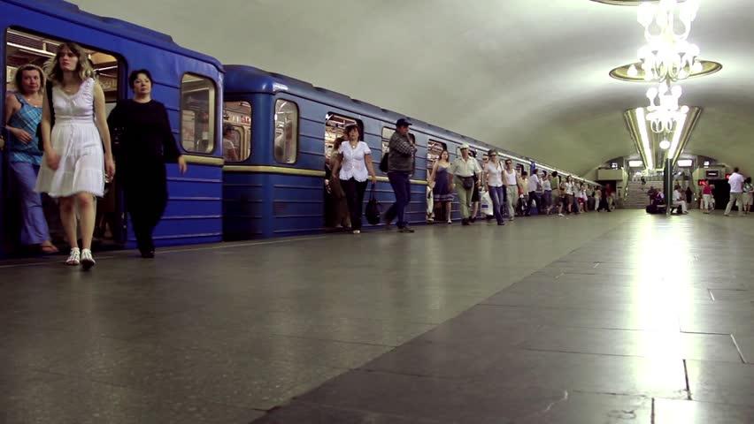 UKRAINE, KIEV, APRIL 15, 2011: People on underground station in Kiev, Ukraine, April 15, 2011 - HD stock footage clip