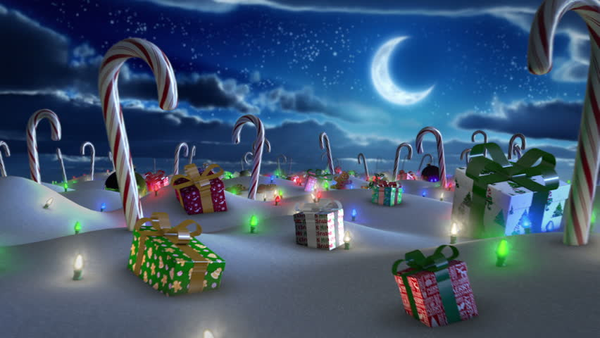 Christmas Land.  Looping fly-through animation of a journey through snow covered hills with Christmas presents, lights, ornaments, cookies and candy canes.