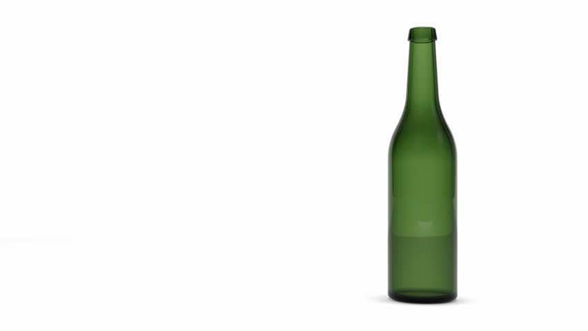Shattered Green Beer Bottle by Bullet in Slow Motion with Alpha Channel. Full HD Video Clip