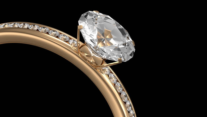 Animation of Golden Ring Rotation with Diamonds on two backgrounds. Seamless Looping HD Video Clip. Alpha Channel is Included.