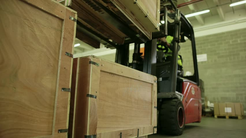 Logistics business and shipping facility with manual worker operating forklift to move boxes and goods, man working in warehouse, worker in industry. 11of19 - HD stock footage clip