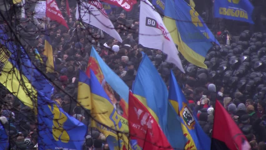KIEV - CIRCA NOV 2013: demonstration in Kiev. 24 november 2013 - HD stock footage clip