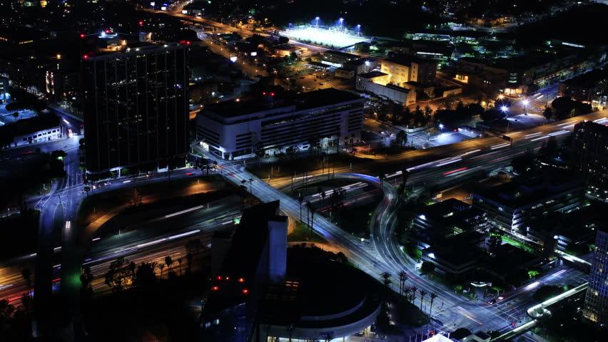 4K Night Cityscape Timelapse 142 Los Angeles Freeway Traffic Loop - 4K stock footage clip