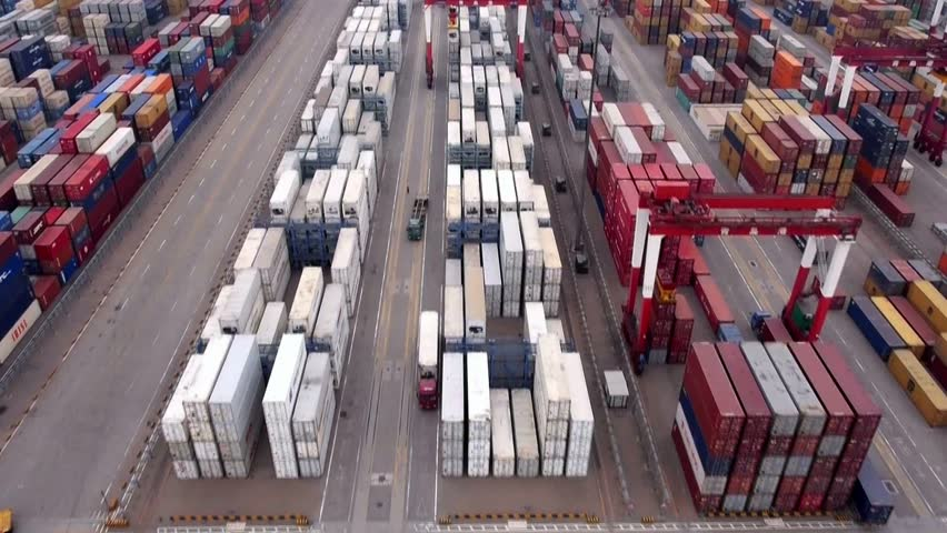 China Qingdao port container terminal aerial view
