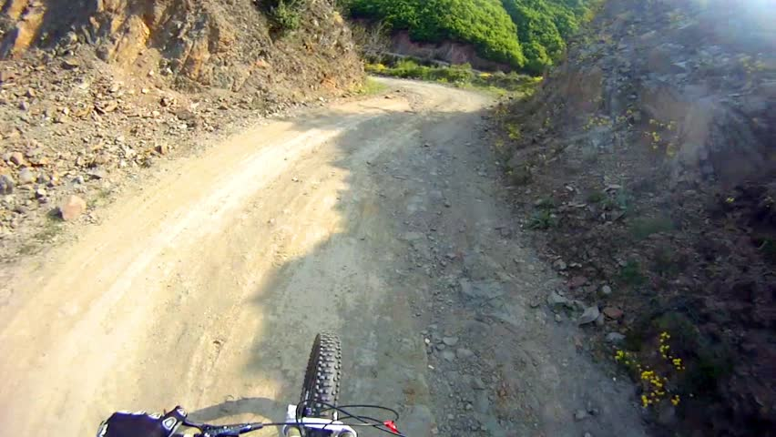 Mountain Bike from Rider's POV in HD - Stock Video. Ride over forest autumn