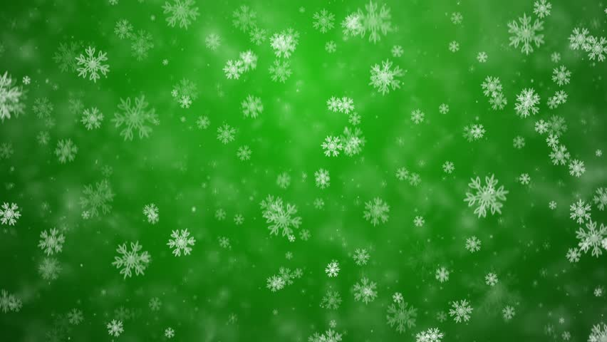 Snowflakes Falling Against A Green Frosty Background Stock ...