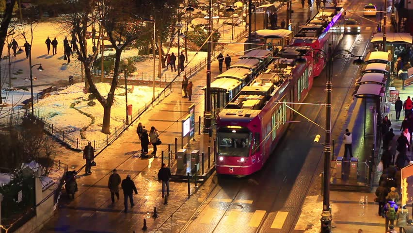 Sultanahmet in Winter. A busy winter night at Divanyolu Street in Istanbul,