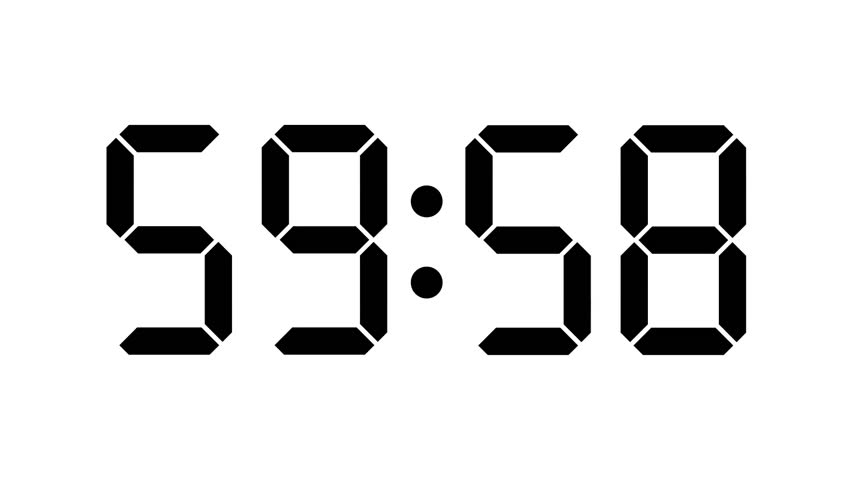 digital clock countdown from sixty to zero - full hd - timer with lcd display