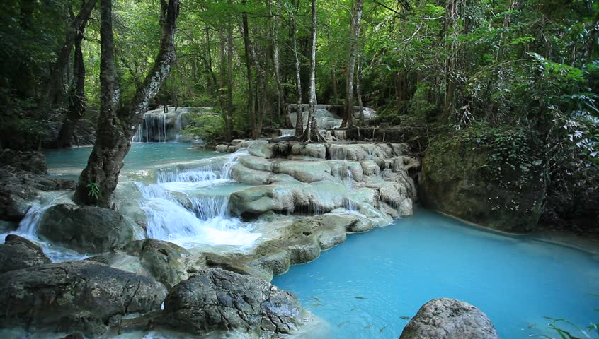 Deep forest waterfall in Thailand (Erawan Waterfall)  | Shutterstock HD Video #5188658