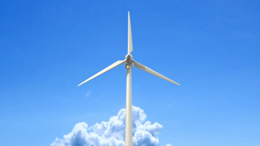 Regular wind turbines rotating in the wind on an isolated blue sky with a single fluffy cloud - HD stock video clip