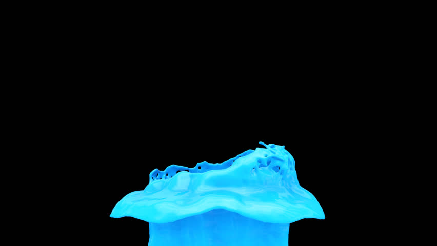 light blue paint splash in slow motion, alpha channel included (FULL HD)