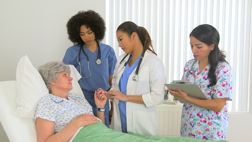 Caucasian Patient Holding Her Doctor S Hand Stock Footage