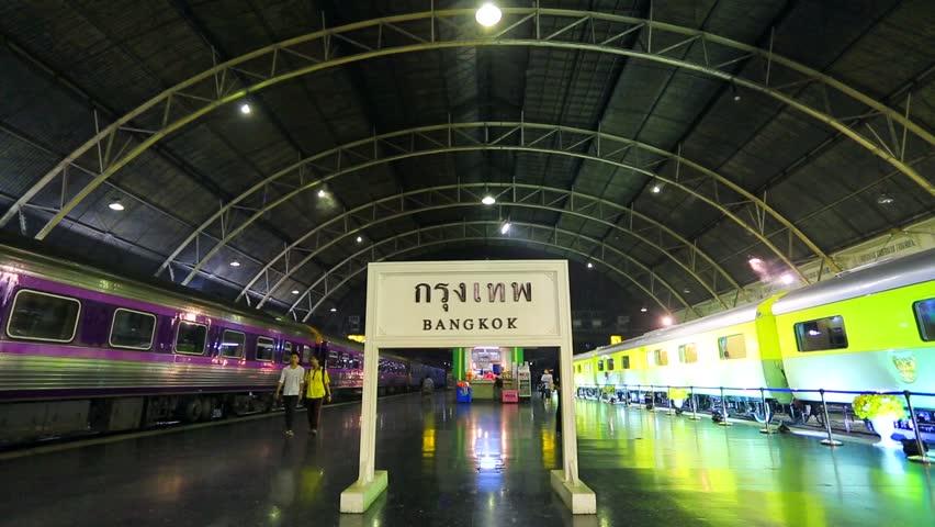 BANGKOK DECEMBER 4, 2013: Trains at Hua Lamphong Railway Station (Bangkok Railway Station). on December 4, 2013 in Bangkok, Thailand.
