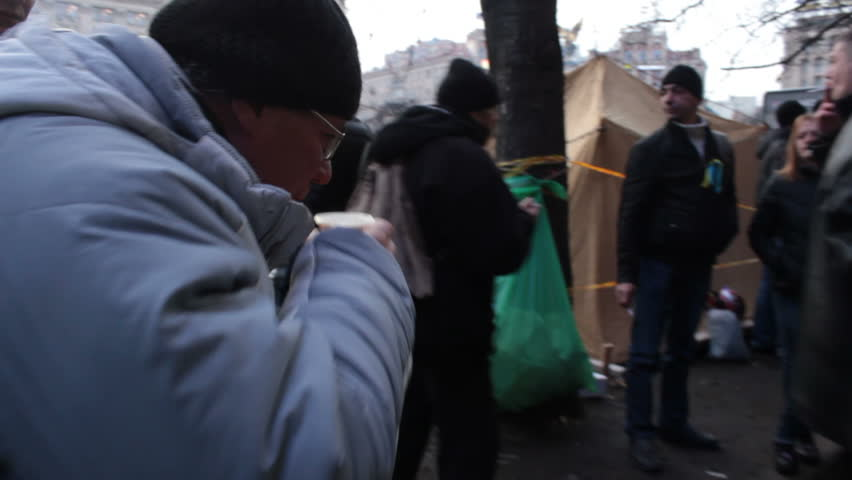 KIEV, UKRAINE - 2 DECEMBER 2013 Maidan Nezalejnosti, Khreshatik Protesters. Riots in Ukraine - The Camp of the strikers. - HD stock footage clip