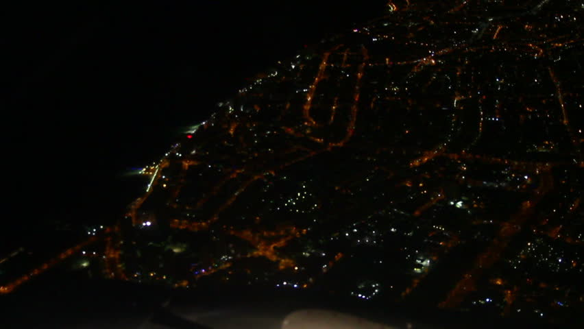 Night view shot from plane. aerial shot