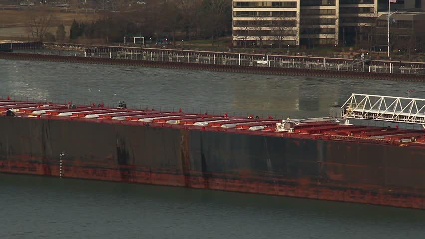 DETROIT - CIRCA NOVEMBER 2013: A large cargo freight ship navigating the Detroit