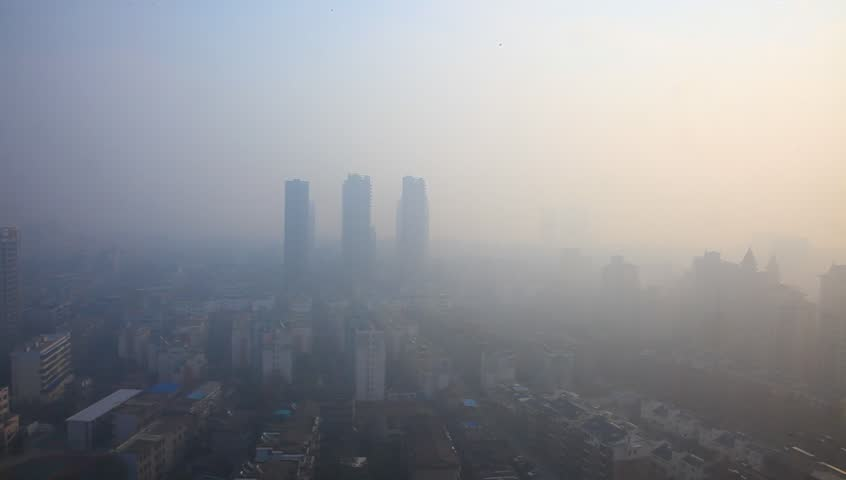 Air pollution in China, bird view of Fuzhou city under haze - HD stock footage clip