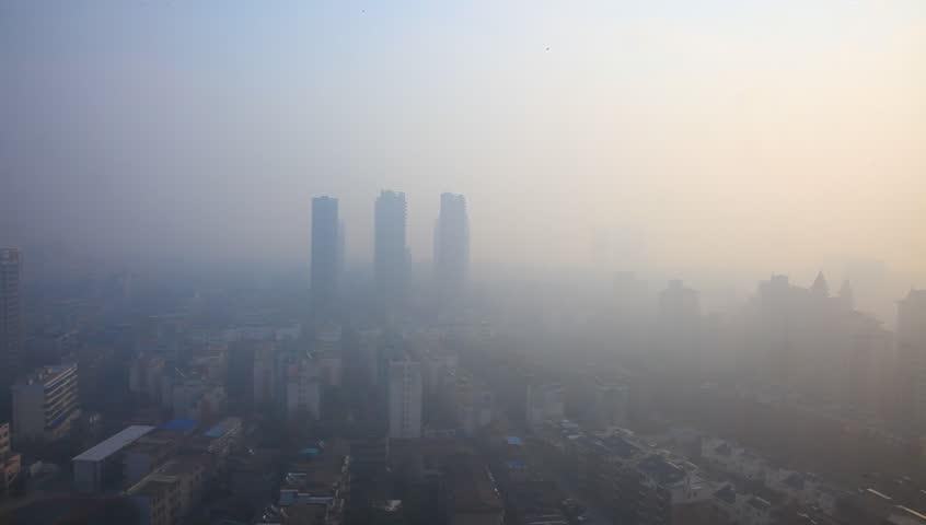 Air pollution in China, bird view of Fuzhou city under haze