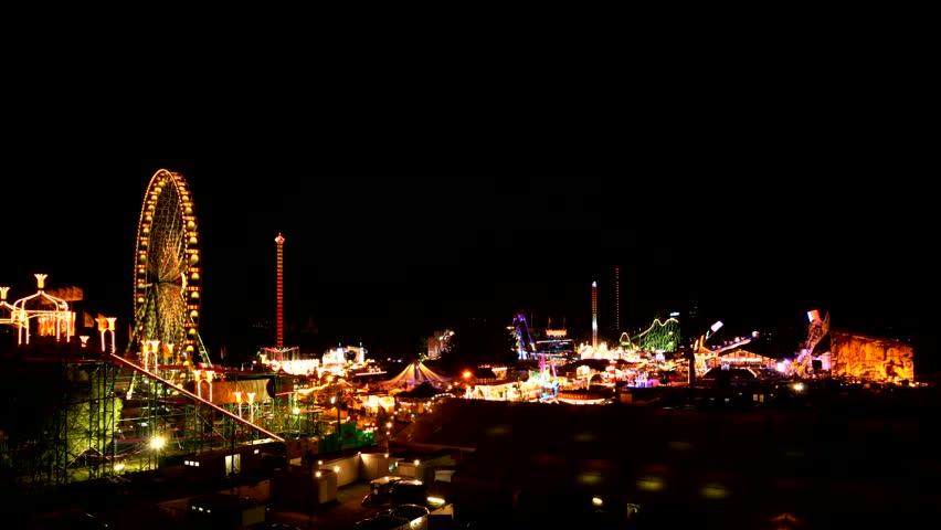 Funfair in Dsseldorf, Germany - time lapse - HD stock footage clip