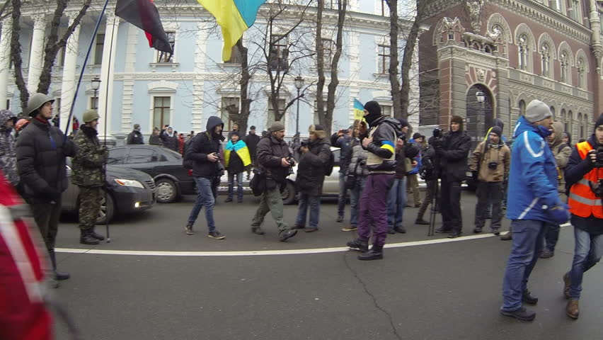 KIEV, UKRAINE the 8th of DECEMBER (2013) Strike in Ukraine - march of the strikers. encounter of opposing forces! (the ranks by 100 people) 500, 000 of Ukrainians went to the Maidan Nezalejnosti. - HD stock video clip