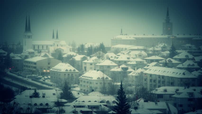reykjavik gloomy winter day  - HD stock footage clip