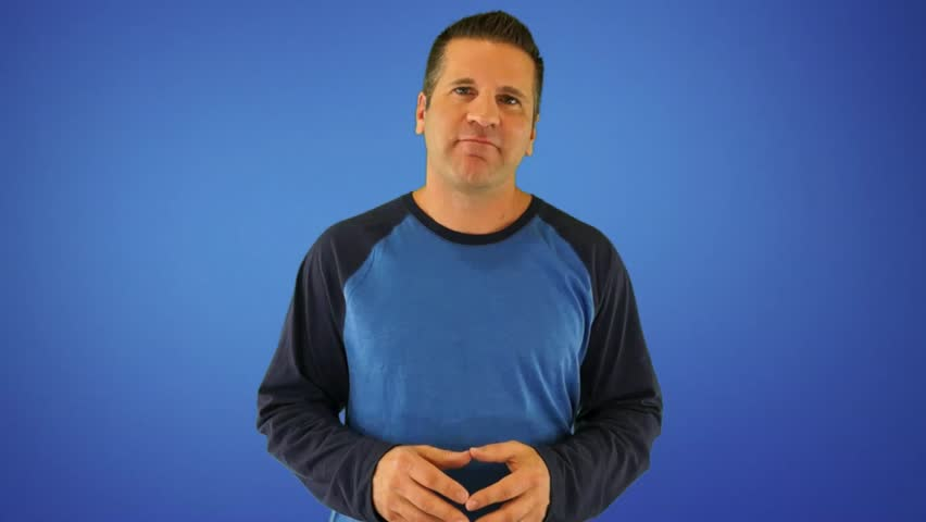 Actor Giving a Generic Positive Ebook Review on a Blue Background