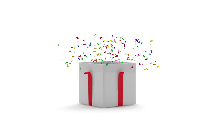 Animation of Opened Gift Box with Confetti inside. HQ Video Clip with Alpha Channel