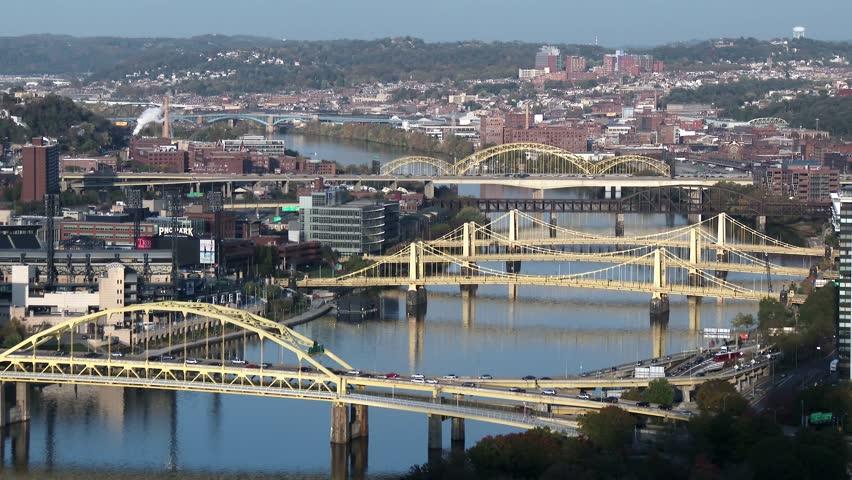 Bridges over the Allegheny River in Pittsburgh, Pennsylvania. In 4K UltraHD. - 4K stock video clip