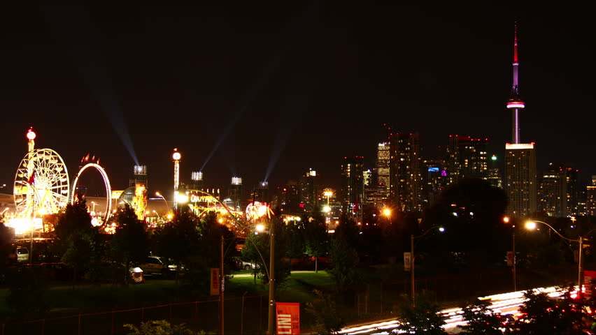 Toronto Skyline Carnival Time-Lapse. Time-lapse of the carnival at the Canadian