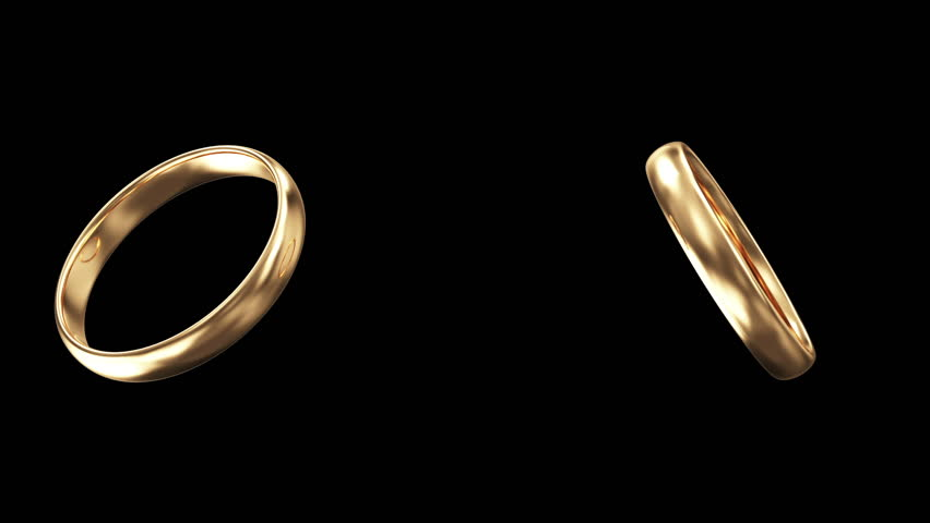 Animation of Golden Wedding Rings creating a Heart Form. HQ Video Clip with Alpha Channel