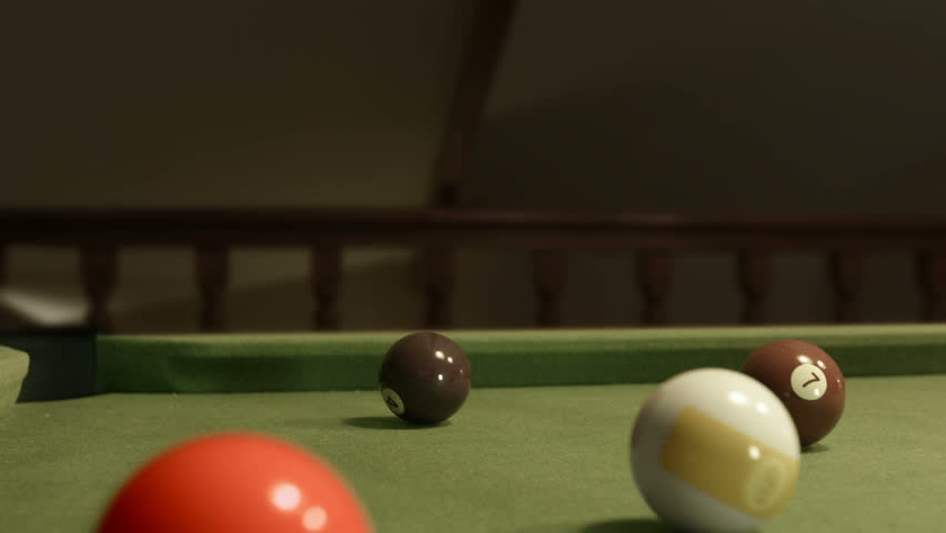 Playing Pool Double Hit. Two men playing snooker. Professional bar pool room.  - HD stock footage clip