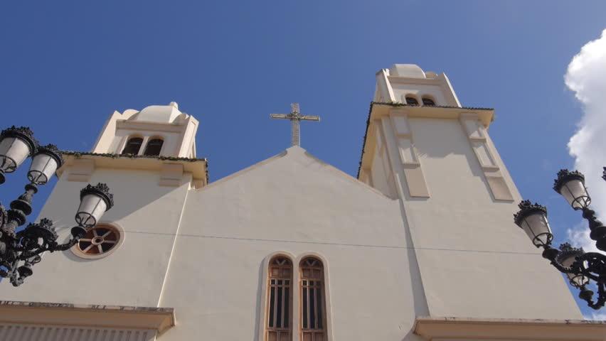 Hispanic Catholic Church - Iglesia de San Rafael in Quebradillas, Puerto Rico. - HD stock video clip