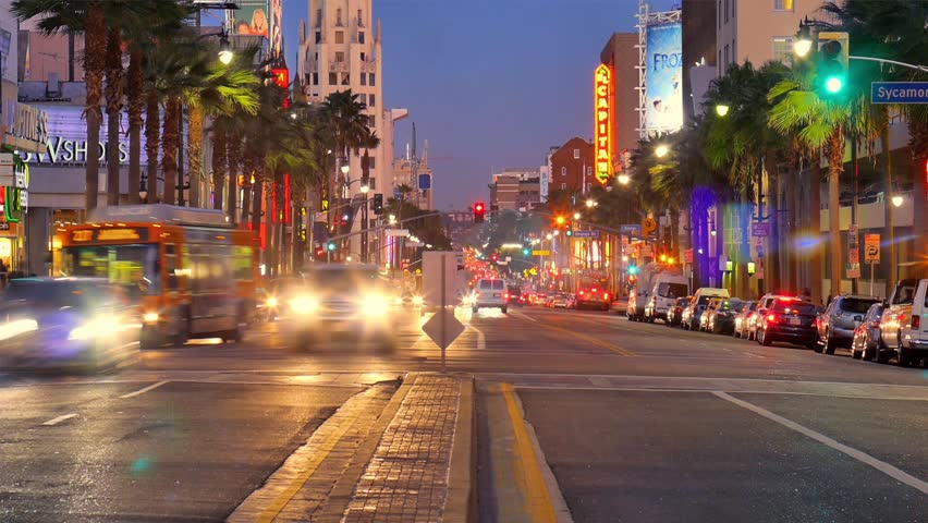 Night traffic on Hollywood Boulevard in Los Angeles. Timelapse.