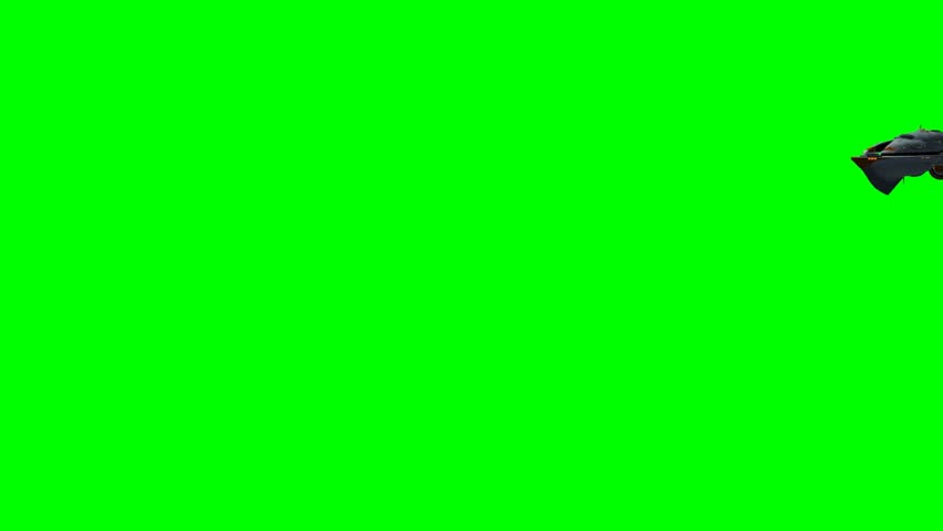 UFO Alien Spaceship fly by green screen  - HD stock video clip