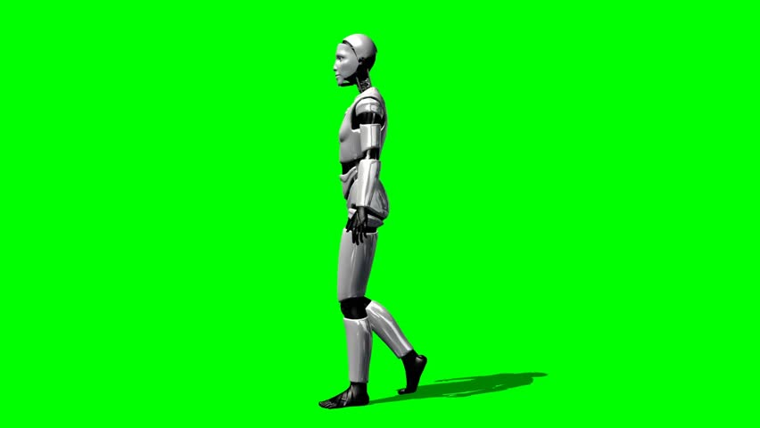 Humanoid I Robot walk animation green screen video Footage - HD stock footage clip