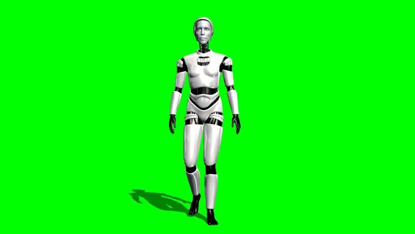Humanoid I Robot walk animation green screen video Footage - HD stock footage clip