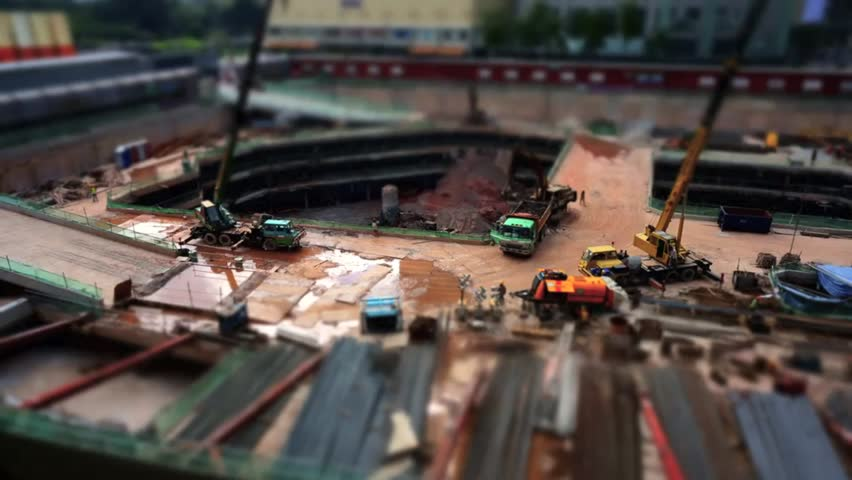 Miniature tilt shift lens effect time lapse at construction area in Kuala Lumpur, Malaysia - HD stock video clip